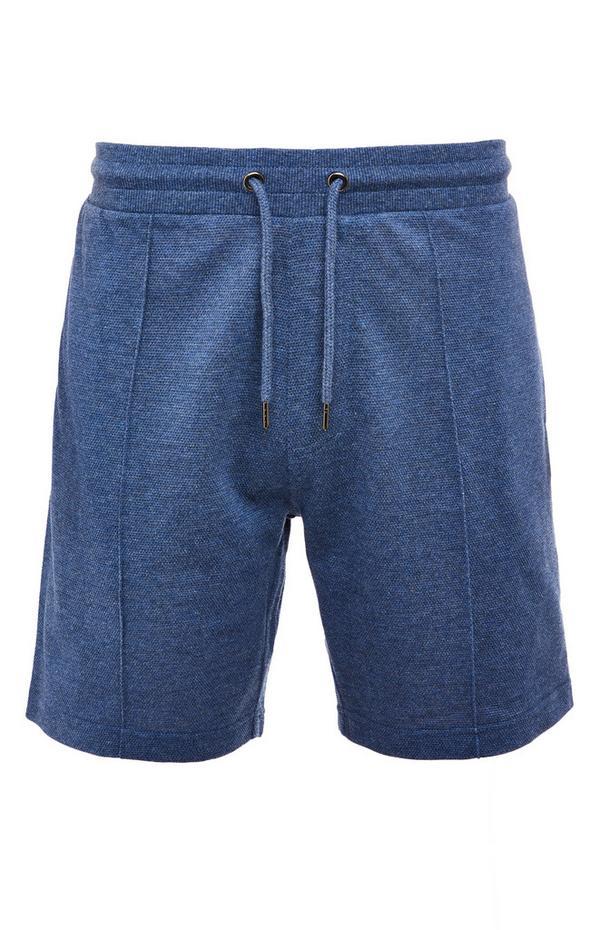 Shorts blu navy in piqué con laccetti in vita