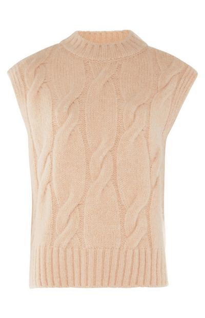 Beige Knitted Crew Cable Sleeveless vest top