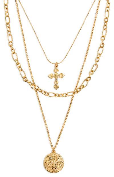 Collier doré à 3 rangs en chaînes mélangées avec pendentifs