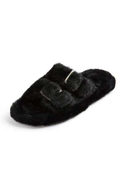 Black Faux Fur Double Buckle Sliders