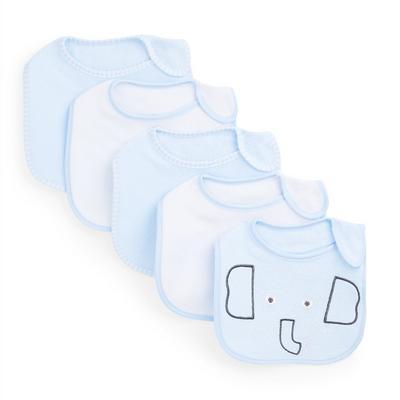 Blauwe badstof babyslabbetjes met olifantenprint voor jongens, set van 5