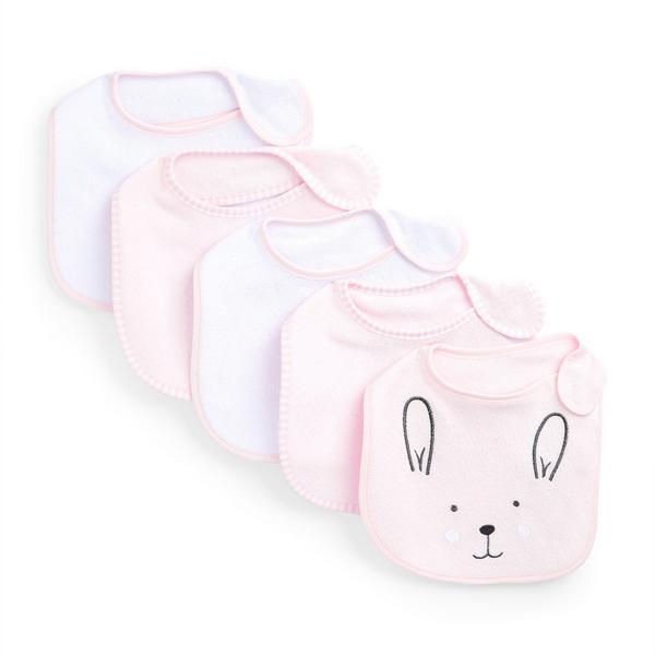 Newborn Baby Girl Pink Bunny Print Terry Bibs 5 Pack