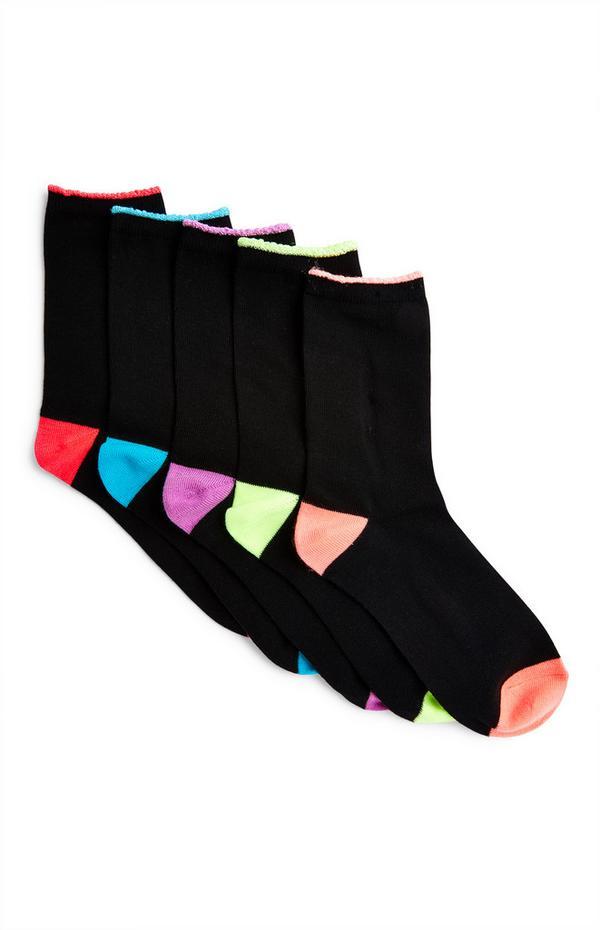Pack de 5 pares de calcetines altos negros con detalles en contraste