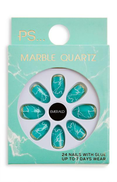 PS Emerald Marble Quartz Almond Shape Glossy Faux Nails