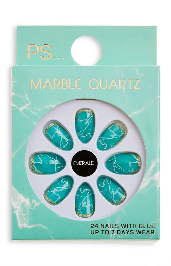 Uñas postizas brillantes en almendra con efecto cuarzo de mármol «Emerald» de PS