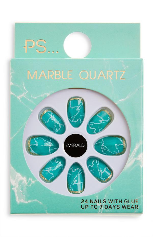 Sijoči smaragdno zeleni umetni nohti mandljaste oblike PS Marble Quartz