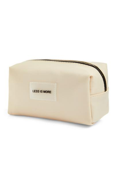"Ecrufarbene ""Less Is More"" Make-up-Tasche"