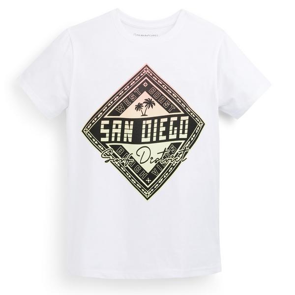 T-shirt bianca con stampa da ragazzo