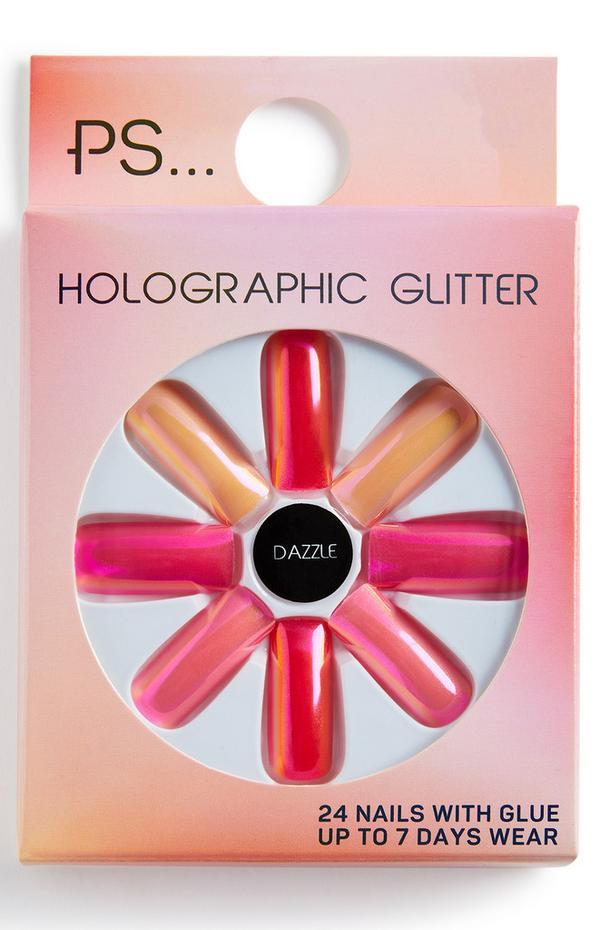 Lange rechthoekige glanzende kunstnagels PS Holographic Glitter, kleur Dazzle