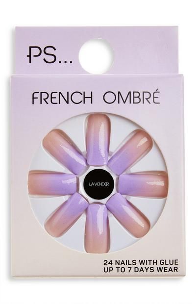 PS Lavender French Ombré Long Square Glossy Faux Nails