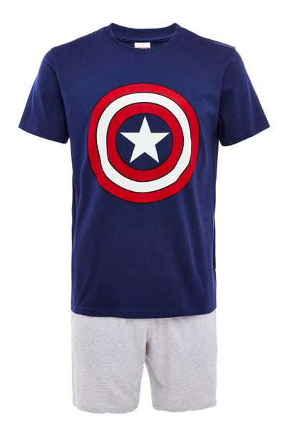 Grey And Navy Captain America Short Pyjamas Set