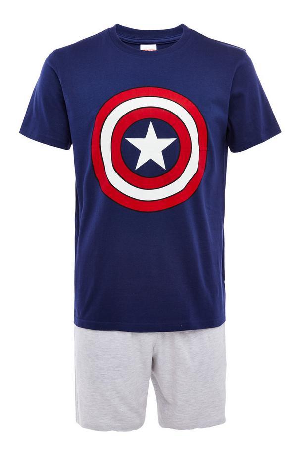 Grey And Navy Captain America Short Pyjamas Set