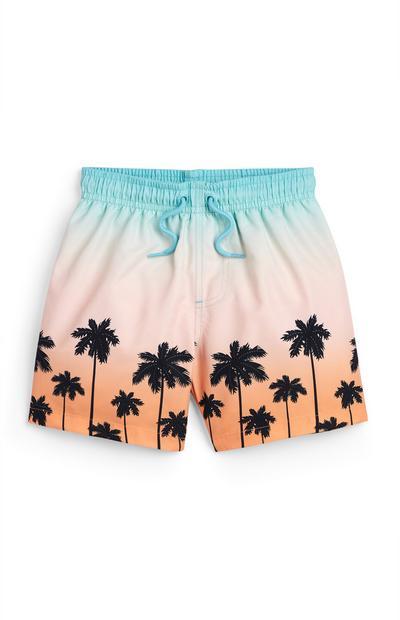 Younger Boy Palm Print Scenic Swim Shorts