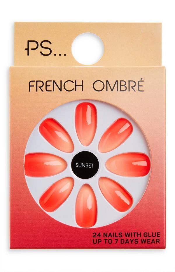 Uñas postizas brillantes en punta con manicura francesa y degradado de color coral «Sunset» de PS