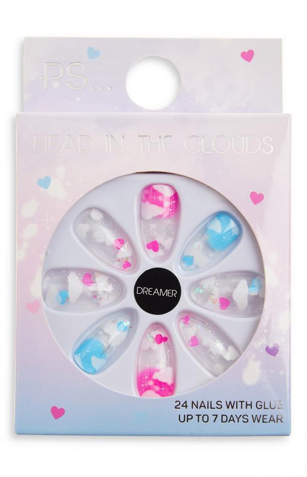 Uñas postizas brillantes en punta con nubes de gelatina «Dreamer» de PS