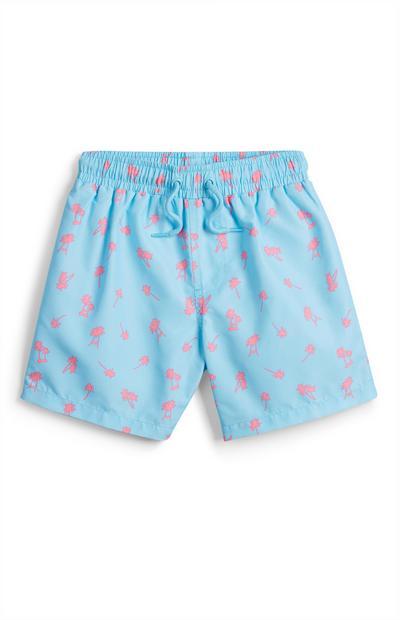 Younger Boy Blue Palm Print Swim Shorts