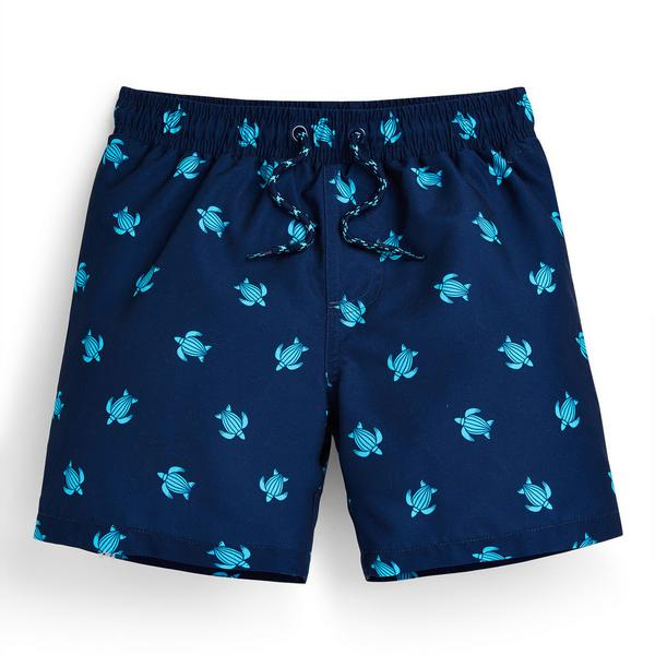 Younger Boy Blue Turtle Print Shorts