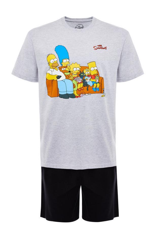 Korte grijs-zwarte pyjamaset The Simpsons