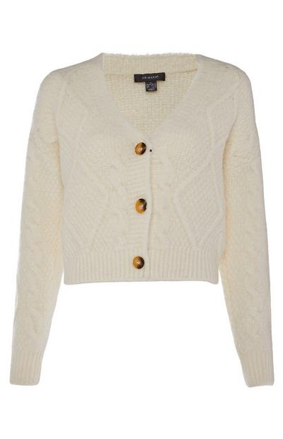 Cream Cable Knit Bradigan Cardigan
