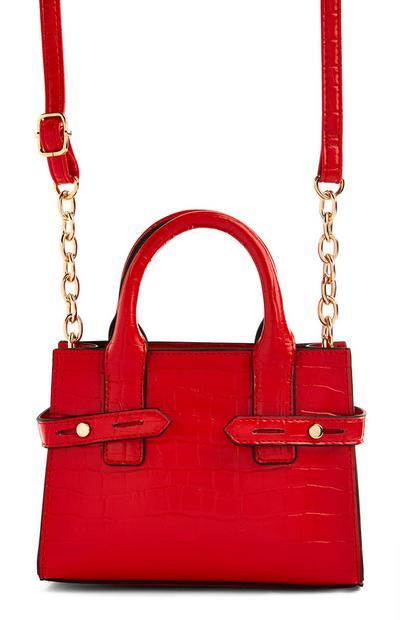 Red Mini Tote Crossbody Bag