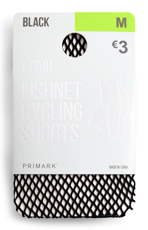 Pantalón corto de ciclista negro de rejilla