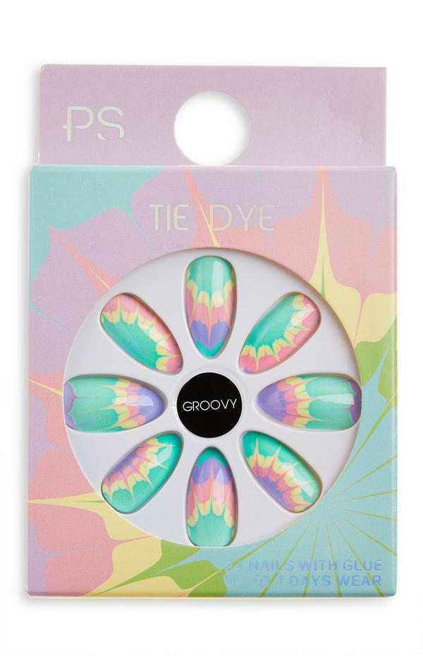 Ps Groovy Tie Dye puntige glanzende kunstnagels