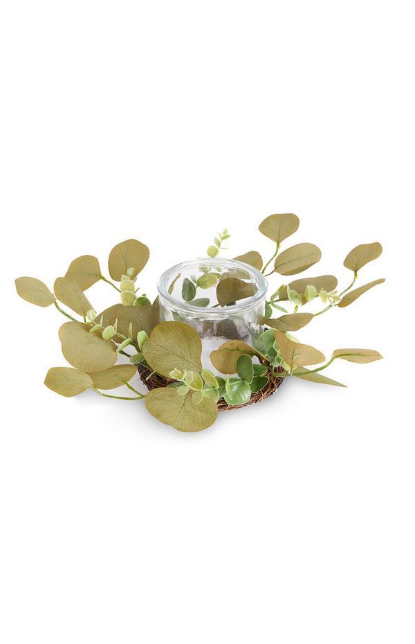 Vela con corona de eucalipto