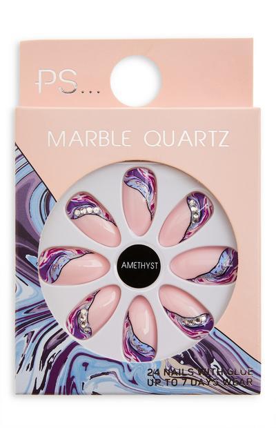Sijoči koničasti umetni nohti v barvi ametista Ps Marble Quartz