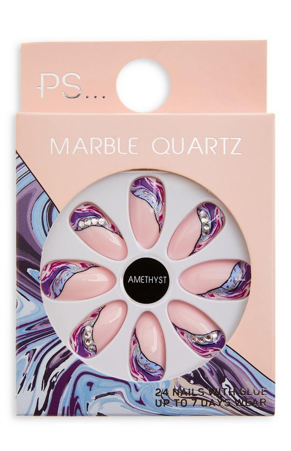 Faux ongles améthyste brillants pointus Ps Marble Quartz