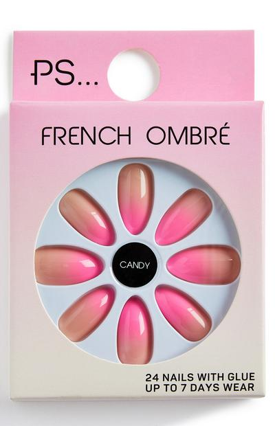 PS andy French Ombré Pointed Glossy Pink Faux Nails