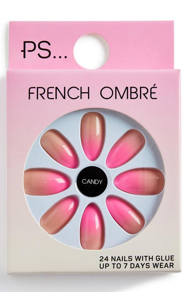 Uñas postizas puntiagudas brillantes PS Candy French Ombre Pink