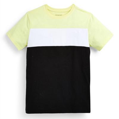 T-shirt noir et jaune color block ado