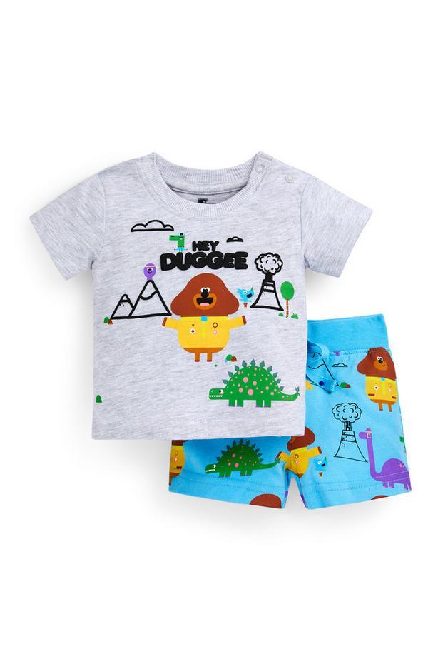 Tweedelig grijs-blauw babysetje met T-shirt en short Hey Duggee voor jongens