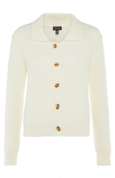 Cream Ribbed Knit Polo Cardigan