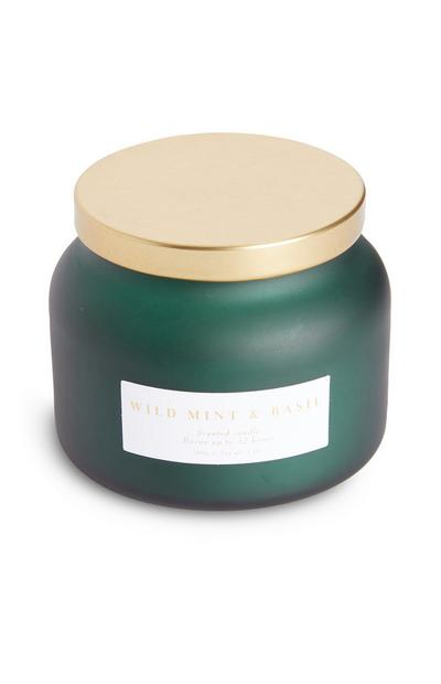 Green Wild Mint And Basil Tub Candle