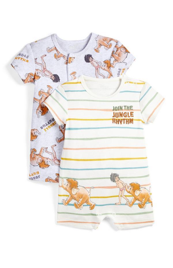 Newborn Baby Jungle Book Print Romper Suit 2 Pack
