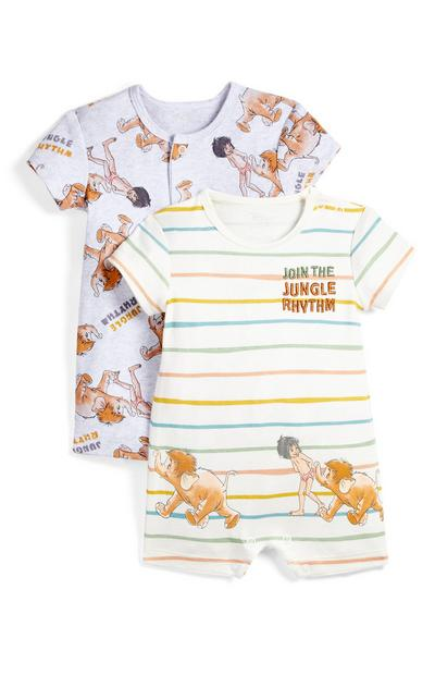 Newborn Baby Jungle Book Print Romper Suit 2 Pack
