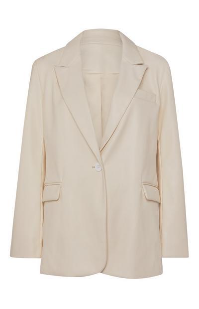 Crèmekleurige blazer van PU-imitatieleer