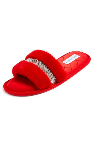 Red Faux Fur Diamante Mule Slippers