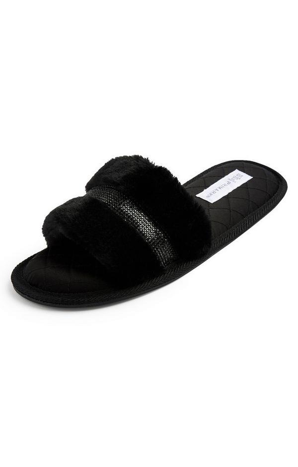 Black Faux Fur Diamante Mule Slippers