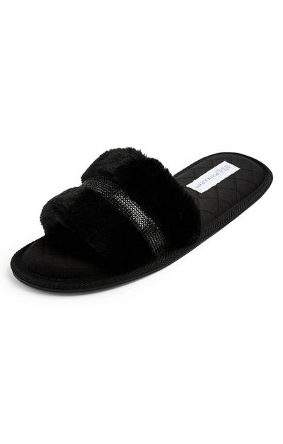 Black Faux Fur Diamante Mule Slippers