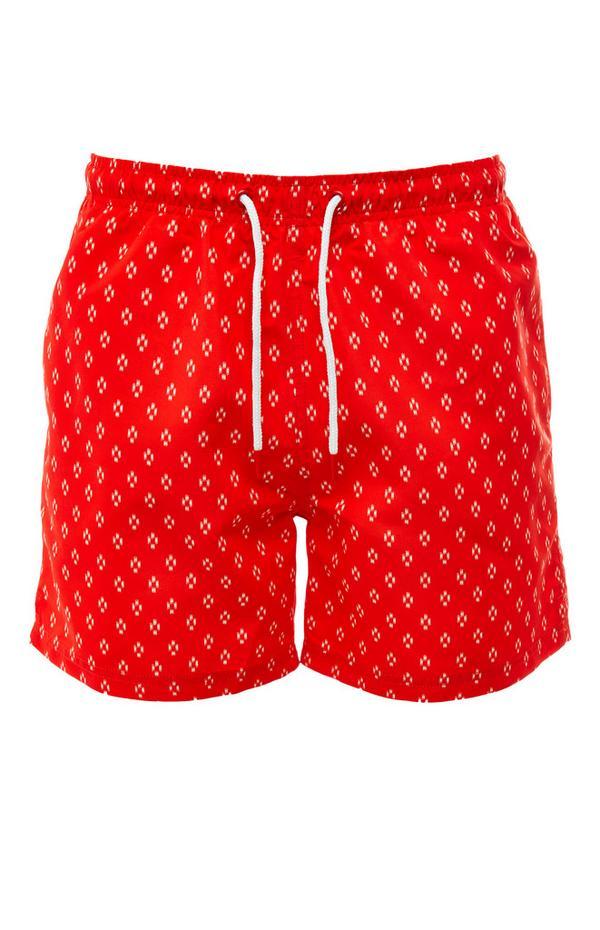 Rode short met geometrische print en trekkoord in taille