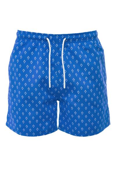 Blue Printed Geometric Pattern Tie Waist Shorts