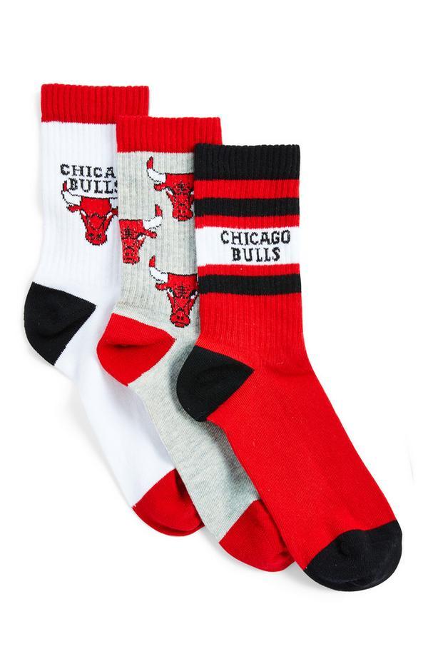 Pack 3 pares meias NBA Chicago Bulls cores sortidas