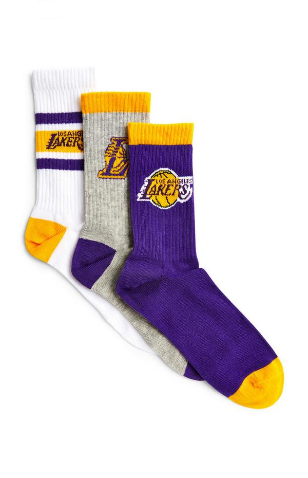 Pack de 3 pares de calcetines de Los Angeles Lakers de la NBA