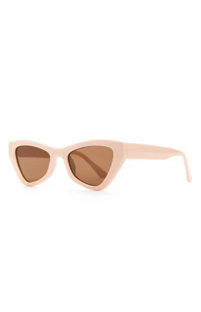 Beige Chunky Angular Cat Eye Sunglasses