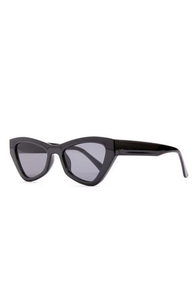 Black Chunky Angular Cat Eye Sunglasses