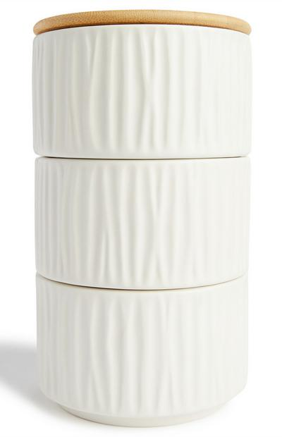 Ivory Stacking Cannisters With Wooden Lid 3 Pack