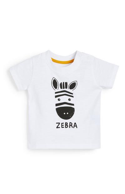 Camiseta blanca con estampado de cebra para bebé niño