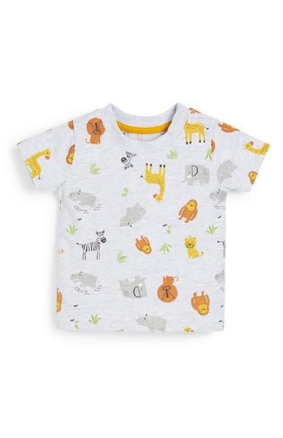 Camiseta blanca con estampado de animales de granja para bebé niño